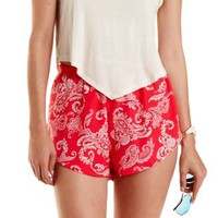 Coral High-Waisted Paisley Dolphin Shorts by Charlotte Russe