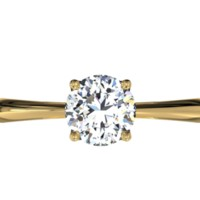 Solitaire Diamond Embellished Prong Engagement Ring - in 18kt Yellow Gold (0.19 CTW)