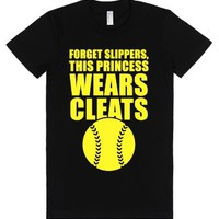 This Princess Wears Cleats (Softball)-Female Black T-Shirt