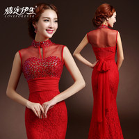 2015 new fashion elegant see through red elegant long evening dress mermaid  with sequined beaded women eveing gown long sexy