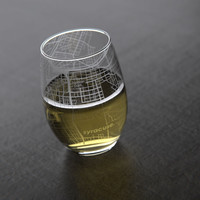 Syracuse, NY - Syracuse University - College Town Maps Stemless Wine Glass