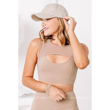 Getting With It Harness Mesh Sports Bra   Nude