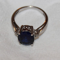 Vintage Sterling Silver Blue Sapphire Ring Size 6.5