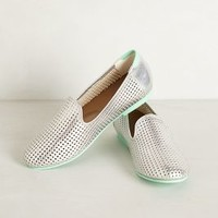 Preston Punched Loafers by Adam Tucker Silver 6.5 Flats