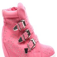 CORAL VELVET THREE BUCKLE STRAPS STUDDED WEDGE SNEAKERS
