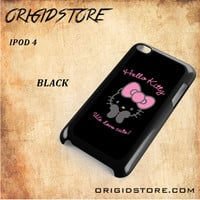 Hello Kitty Snap on 2D Black and White Or 3D Suitable With Image For Ipod Touch 4 Case