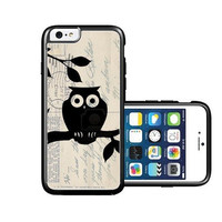 RCGrafix Brand Cute Owl On Vintage Postcard iPhone 6 Case - Fits NEW Apple iPhone 6
