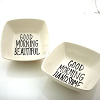 Mr and Mrs wedding gift for couples square cereal bowls, good morning handsome and beautiful, wedding and engagement