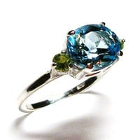 """Topaz, topaz and peridot ring, topaz accent ring,  blue green, anniversary,  s 7  """"Lazy summer afternoon"""""""