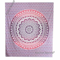 """Amitus Exports ® 1 X Ombre Mandala 90""""x80"""" Approx. Inches Purple Pink Color Queen Size Cotton Fabric Multi-Purpose Handmade Tapestry Hippy Indian Mandala Throws Bohemian Tapestries"""
