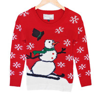 Hairy Skiing Snowman Tacky Ugly Christmas Sweater – Plays Music!