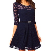 Uoften Sexy Spoon Neck 3/4 Sleeve Lace Skater Dress Belt (Large, Dark Blue)