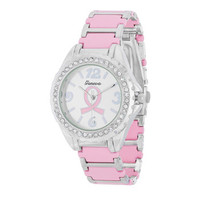 Breast Cancer Awareness Metal Watch With Crystals