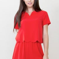Sugarlips Made for You Short Sleeve Layered Red Romper