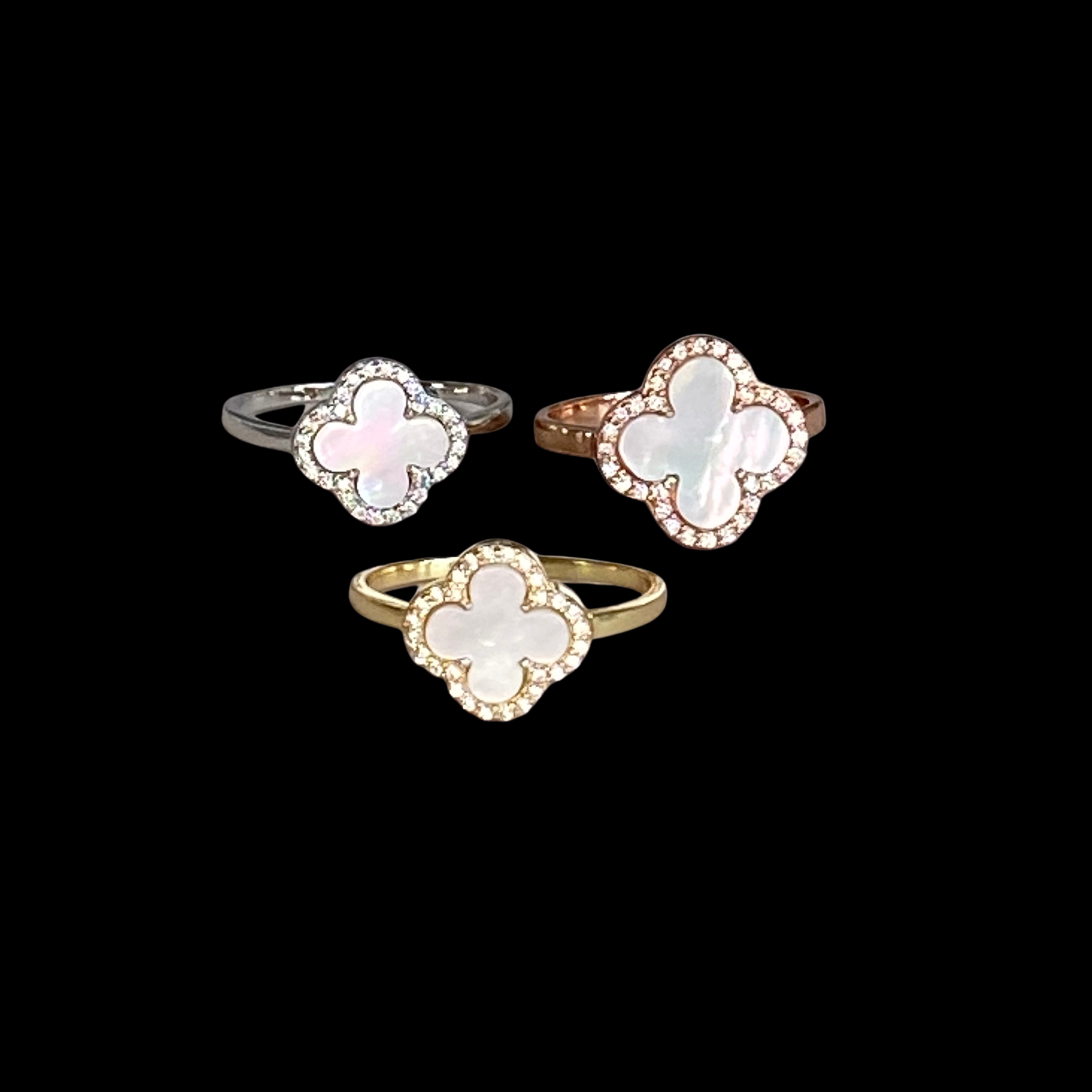 Image of MOTHER OF PEARL CLOVER RING