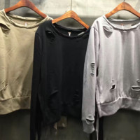 Spring wear new loose style small round collar long sleeves on both sides of the band broken holes and long sleeves fur sweater