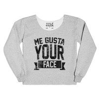 Me Gusta Your Face-Female Heather Grey T-Shirt