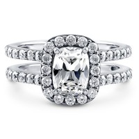 Sterling Silver Cushion Cubic Zirconia CZ Halo Ring 2.3 ct.twBe the first to write a reviewSKU# R957-01