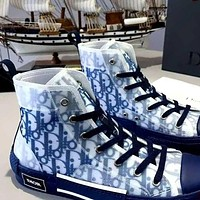 Dior CD net yarn letters high-top shoes, breathable thick-soled all-match men and women couple shoes