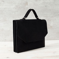 LEATHER BRIEFCASE WITH FOLDOVER FLAP