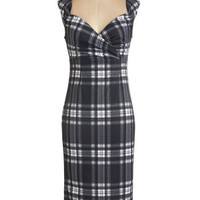 Vintage Inspired, 90s, Scholastic Long Sleeveless Sheath Lady Love Song Dress in Plaid