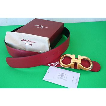 NWT Authentic Salvatore Ferragamo Reversible Red Black Belt XL Gold Buckle