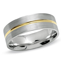 Men's 7mm 10K Two-Tone Gold Band - Peoples Jewellers Men's 7mm 10K Two-Tone Gold Band - - View All Rings - Peoples Jewellers