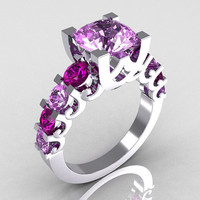 Modern Vintage 10K White Gold 2.0 Carat Lilac and Lavender Amethyst Cocktail Wedding Ring R142-10WGLAMLAM