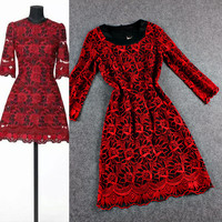 Red Floral Embroidered Mesh Grid A-Line Mini Dress