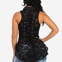 Sexy Black Lace Corset with Lace Up Back