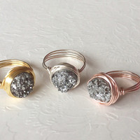 Silver druzy ring- druzy wire wrapped ring- sterling sver druzy ring- gold filled druzy ring- Rose gold druzy ring.