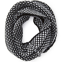 FOREVER 21 Two-Tone Infinity Scarf Black/White One