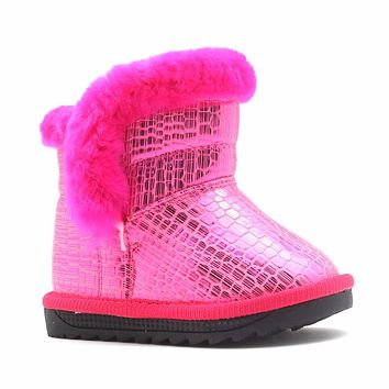 Toddler Girls Winter Warm Boots Shiny PU Leather Girls Boots Plush Children's Winter Shoes