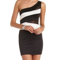 Cut-Out Color Block One Shoulder Bodycon Dress - White Combo