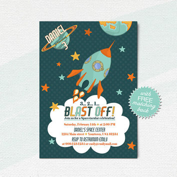 Space birthday invitation, Rocket party invitation, Boys outer space invite card / digital, printable, customized