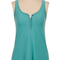 Racerback Henley Tank With Pocket