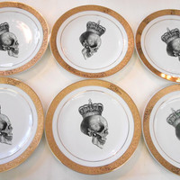 """SIX  New Gold Skull Salad Plates, Foodsafe, 7.5"""", Matching Sets and Payment Plans Available"""