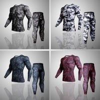 Camouflage 3D T-Shirt Compression Set Men Run jogging Suits Fitness Sports Sets Long Sleeve Shirt And Pants Gym Workout Tights