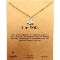 Jewelry New Arrival Stylish Gift Shiny Alloy Lock Necklace  With Card  [6345011841]