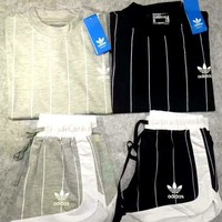 ADIDAS Casual Print Short Sleeve Shirt Top Tee Blouse Two Peice G-A-XYCL