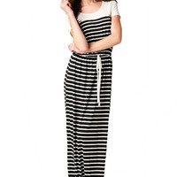Most Wanted Short Sleeve Striped Maxi Dress - Black + White | Daily Chic