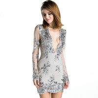 Free Shipping Missord 2015 Sexy deep v long-sleeved tight retro sequin Dress FT3580