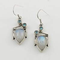Blue Topaz & Moonstone Sterling Silver Earrings