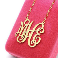 Gold Monogram Necklace - 1.25 inch Personalized Monogram - Sterling silver 18k gold plated Name Necklace