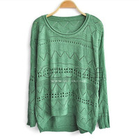 Cut Out Knitted Jumpers with High Low Hem-EMS