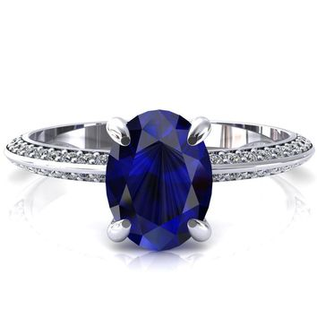 Nancy Oval Blue Sapphire 4 Prong 1/2 Eternity Diamond Knife Shank Accent Engagement Ring