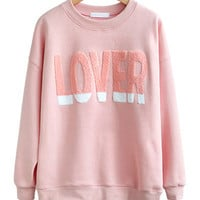 LOVER Print Long Sleeve Cashmere Sweater