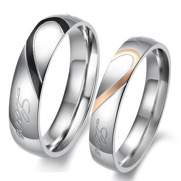 Stainless Steel Matching hearts 2 piece love couple rings set gift - Couple Wedding Rings - Couples Gift Ideas Rhinestones iPhone 5 4S 3GS Cases, Couple Necklaces / Wedding Rings & Uncommon Gift Ideas - Worldwide Shipping
