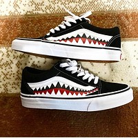 """Vans Bape Custom"" Old Skool Black/White Sneakers"
