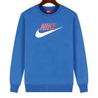 NIKE 2019 new sports and leisure classic print logo long-sleeved sweater blue